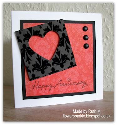 Flower Sparkle: Heart Happy Anniversary Card