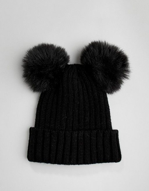 a93ce3a6b22 My Accessories black double pom beanie hat in 2019