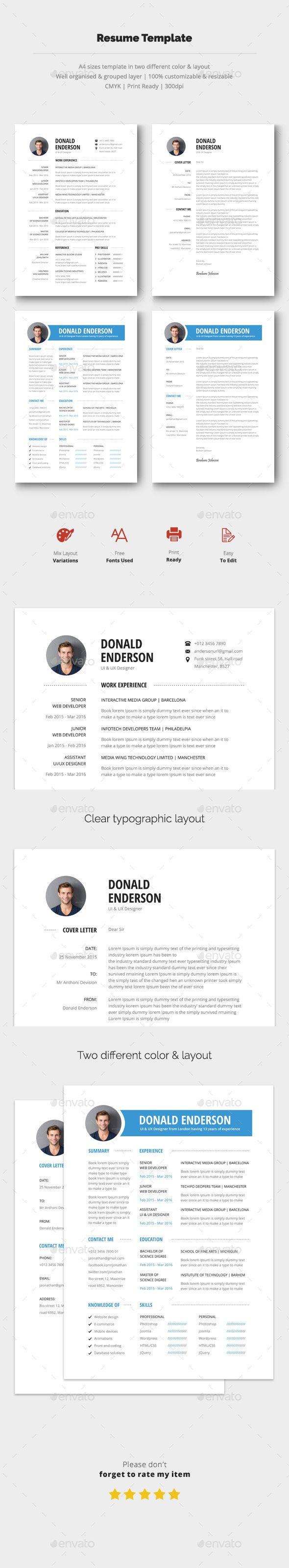 Resume & Cover Letter Template PSD #design Download: http://graphicriver.net/item/resume-cover-letter/14346925?ref=ksioks