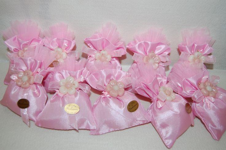 sacchetto battesimo con fiore in pasta di mais
