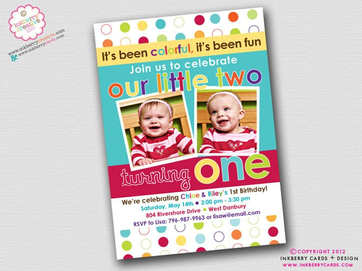 104 best Twins 1st birthday images – Twin 1st Birthday Invitations