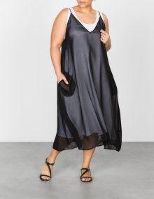 Ronen Chen Leinenkleid mit transparentem Overlay in Schwarz / Weiß
