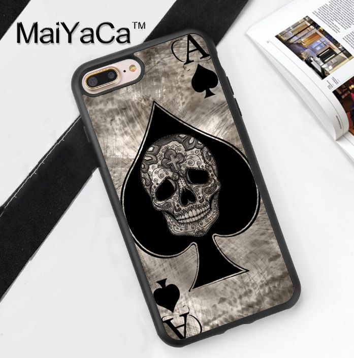 >> Click to Buy << Ace of spades tattoo skull card Soft Rubber Mobile Phone Cases For iPhone 6 6S Plus 7 7 Plus 5 5S 5C SE 4 4S Cover Skin Shell #Affiliate