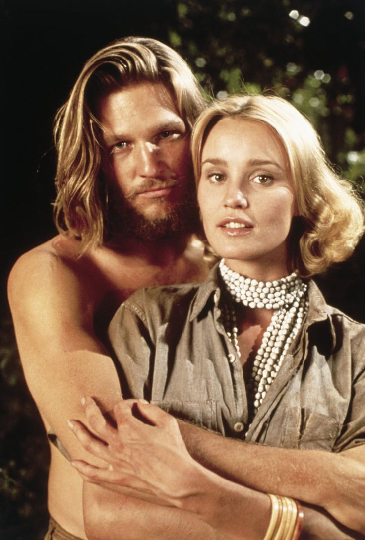 Jeff Bridges as 'Jack Prescott' & Jessica Lange as 'Dwan' (her film debut) in King Kong (1976)