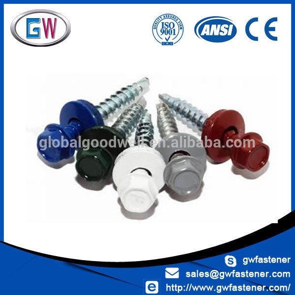 RAL painted roofing screw with colored head and washer