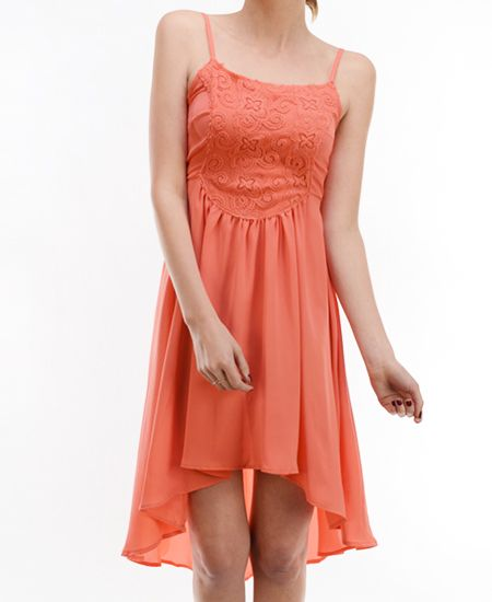 Coral lace panel maxi dress
