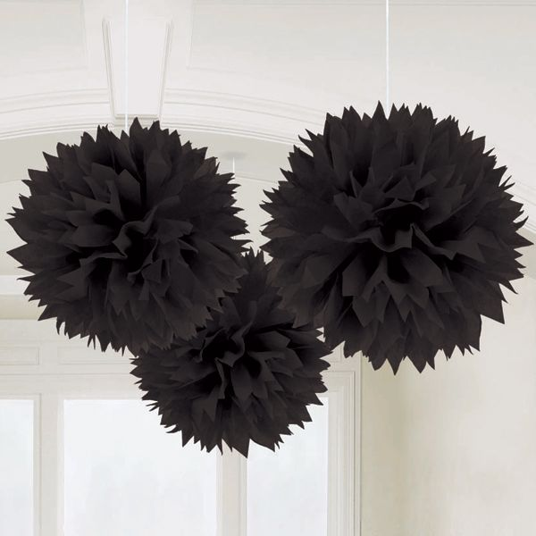 Large Black Pom Poms | Black Party Pompoms - Pink Frosting Wedding & Party Decorations
