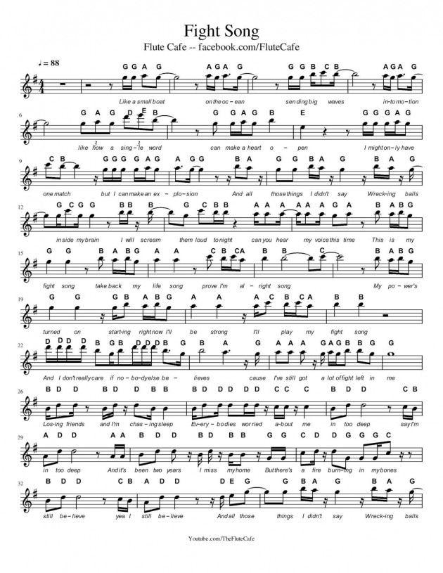 Flute Cafe Fight Song By Rachel Platten Flute Sheet Music