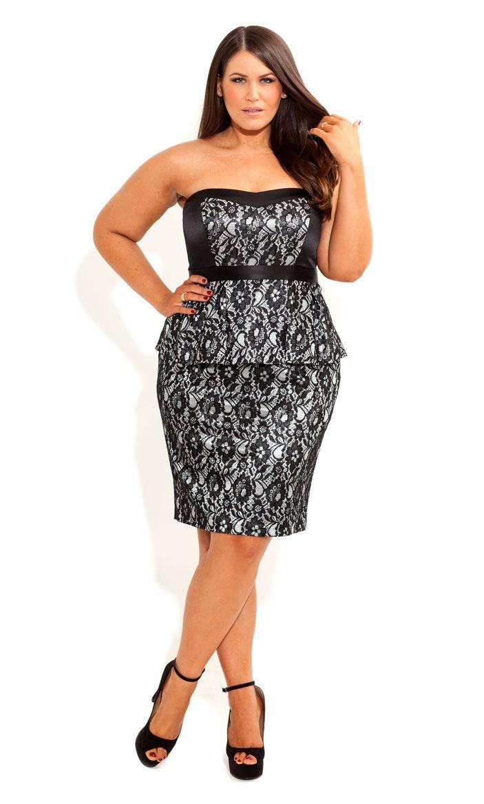City Chic - LACE LAVINIA DRESS - Women's plus size fashion