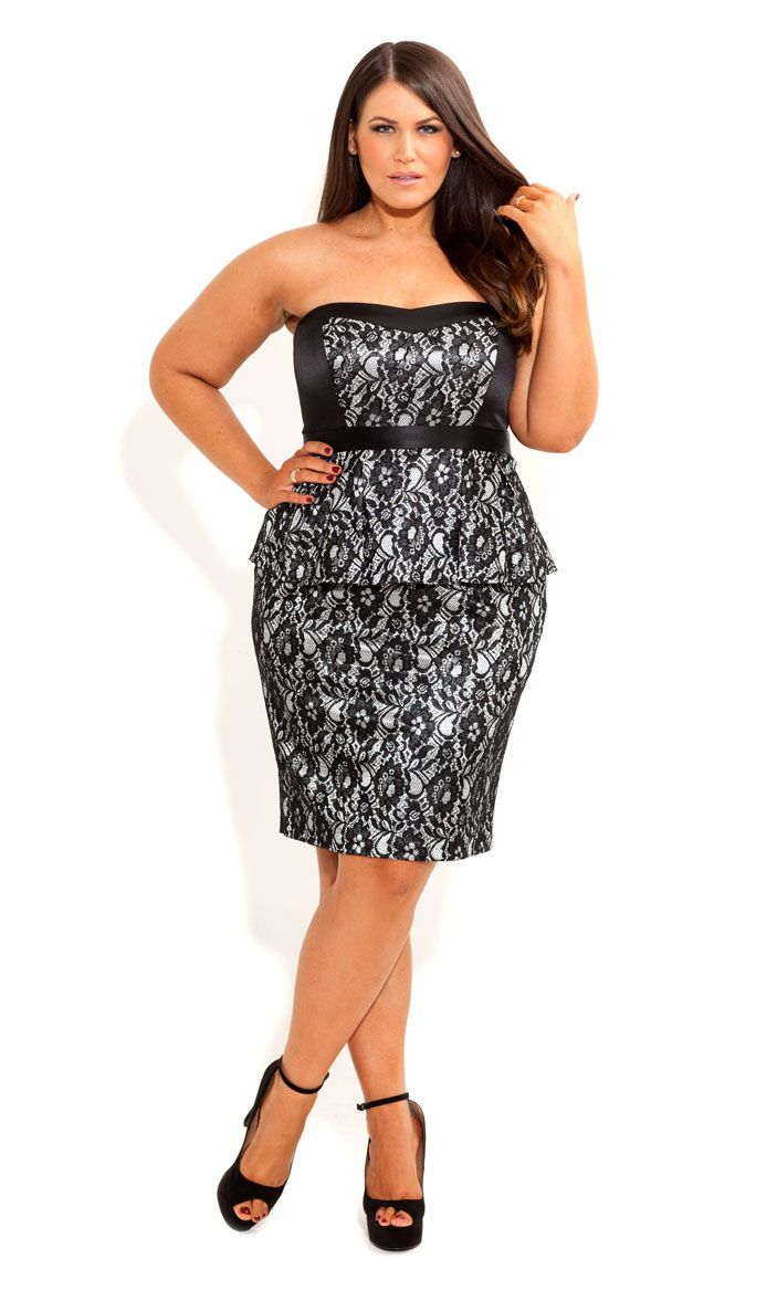 City Chic - LACE LAVINIA DRESS - Women's plus size fashion