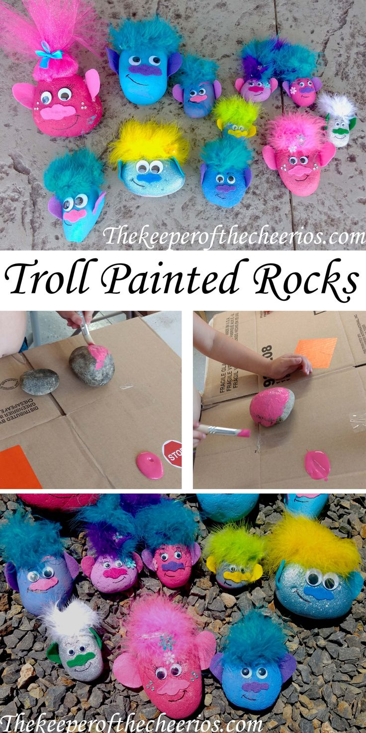 TROLL PAINTED ROCKS, trolls movie, trolls movie kids craft, trolls kids craft