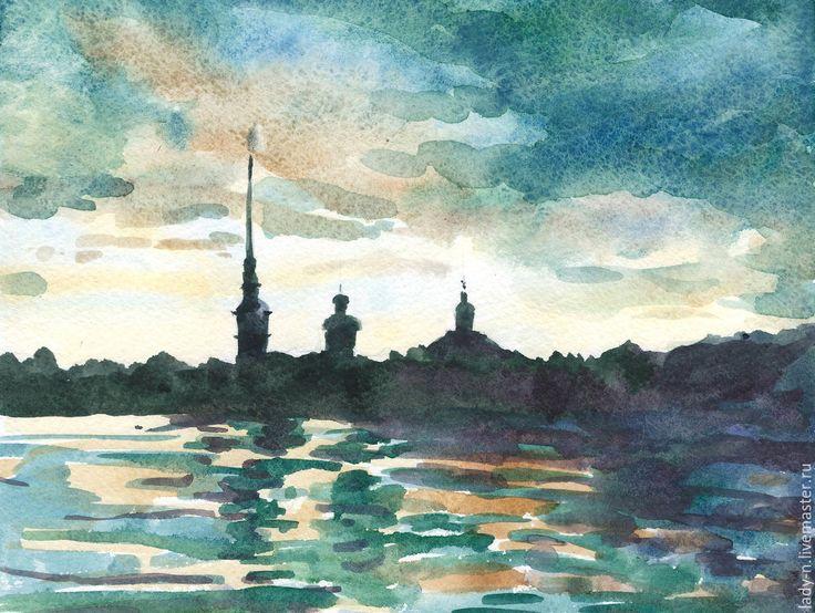 """Купить """"Простор Невы"""", картина, акварель - разноцветный, картина, пейзаж, город, Нева, Питер"""