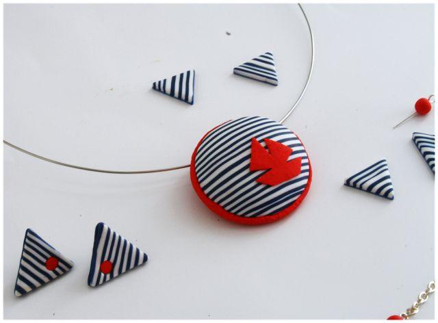 DIY MINI PROJEKTY: Pruhované šperky z polymerové hmoty, fimo tutorial, striped earrings, navy earrings, pruhované náušnice