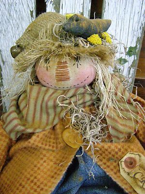 Primitive Fall Scarecrow Doll Old Crow Folk Art Harvest Scarecrow Doll | eBay