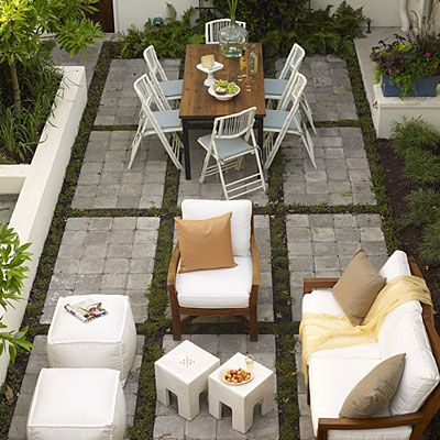 courtyard with raised beds