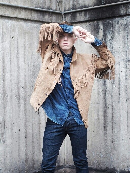 Thrifted suede jacket with fringes