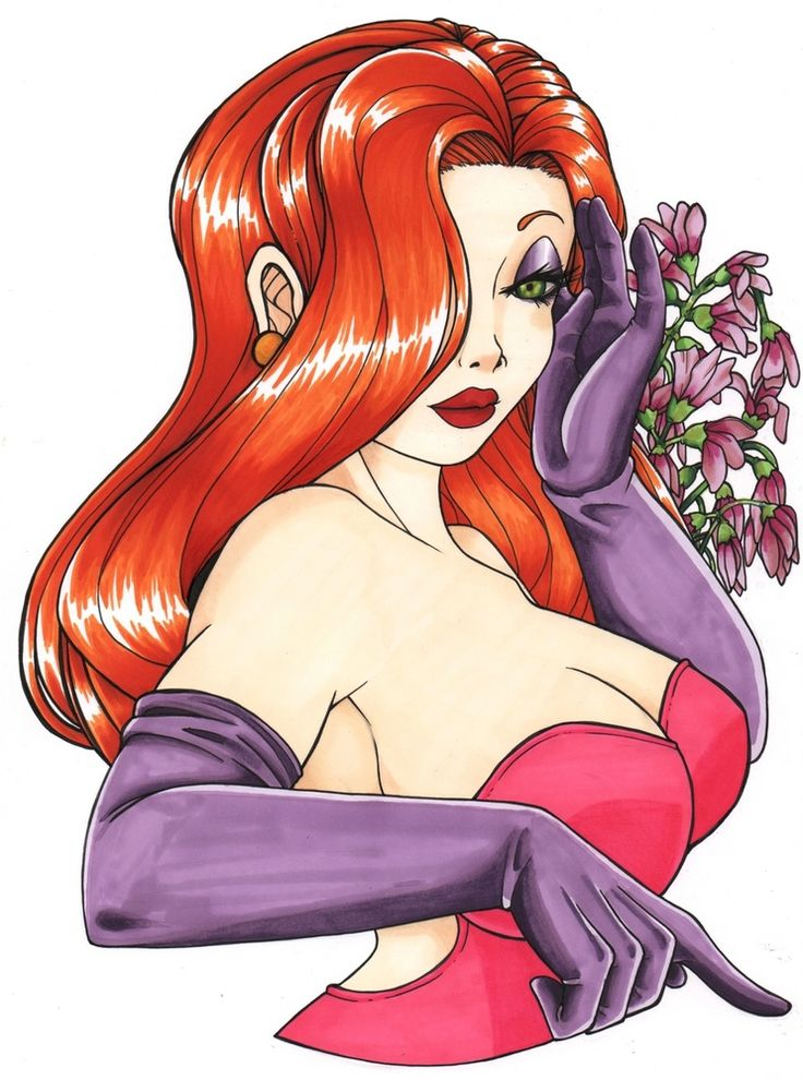 "Volcanic and sulphurous character, this young woman should tell you certainly something because she's Jessica Rabbit, the femme fatale of the famous film ""Who Framed Roger Rabbit."" Inking with Pigma Micron and coloring with ProMarkers, all on a A4 Canson Bristol sheet. Interested in purchasing this drawing ? ➜ http://www.alittlemarket.com/dessins/fr_jessica_rabbit_original_-15449891.html"