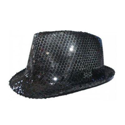 - Siyah Payetli Fötr Şapka