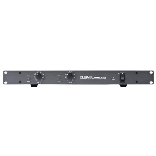 Phonic MAX 500 240 Watt Power Amplifier by Phonic. $196.79. Output power: 120W @ 4 ohms stereo, 90W @ 8 ohms stereo   Studio quality performance with very low noise and wide dynamic range   Class H high efficiency circuitry design   Ultra-low total harmonic distortion   High damping factor provides exceptional loudspeaker motion control   Detented level controls for precise repeatability   Signal and CLIP indicators to monitor performance   Protect indicator   Short circuit, th...