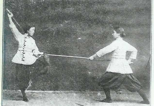 A photo of female martial artists from the Jingwu Anniversary Book. The woman on the left is Chen Shichao, one of the most vocal campaigners for the equality of female martial artists within Jingwu.