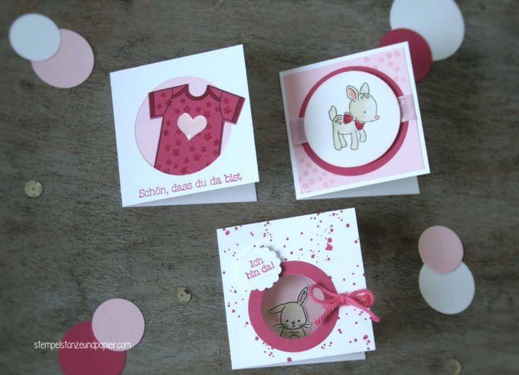 """Mini Baby Karten für kleine Mädchen - Stampin' Up! - """"Zum Nachwuchs"""" - rosenrot/zartrosa"""
