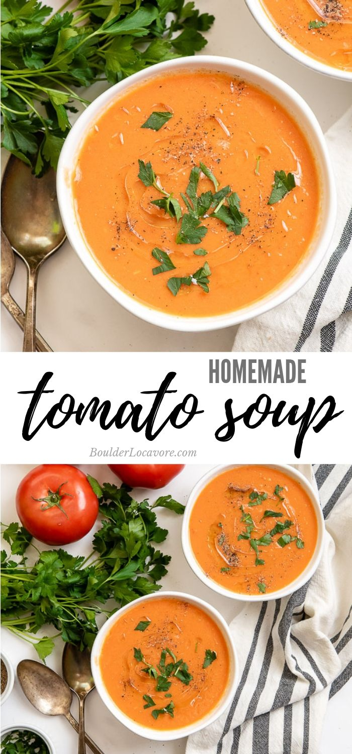 Homemade Tomato Soup Is Made With Fresh Tomatoes And Other Wholesome Ingredients For A Easy Tomato Soup Recipe Fresh Tomato Recipes Homemade Tomato Soup Recipe