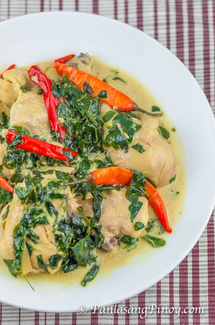 Spicy Chicken in Coconut Milk or Spicy Ginataang Manok is a Filipino Chicken dish that makes use of coconut cream or coconut milk and lots of spicy chili.