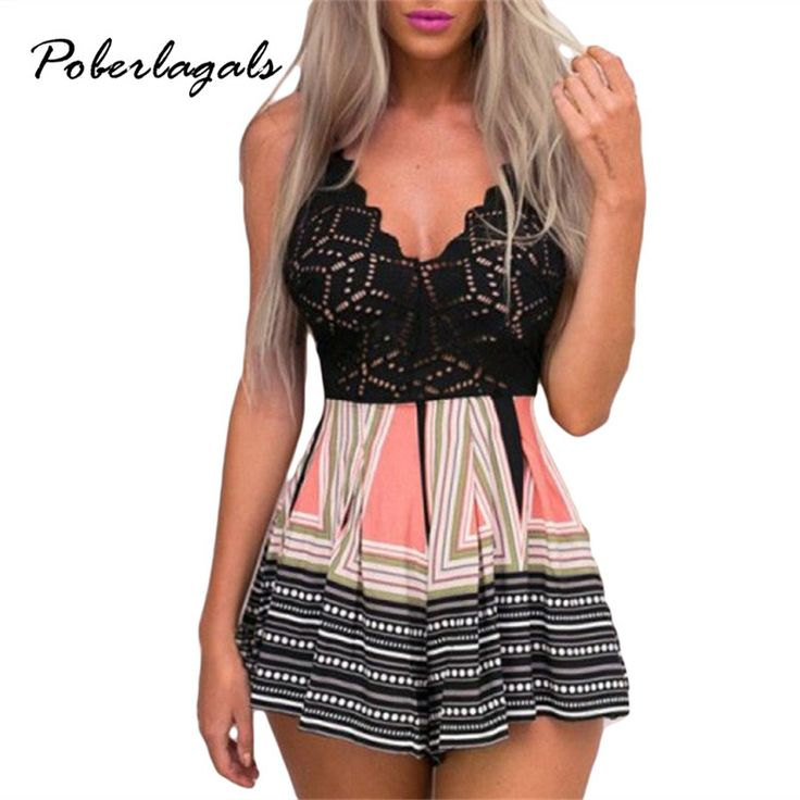 macacao feminino 2017 Cool halter Sleeveless rompers womens summer beach Playsuit Geometric Stripe Lace Shorts jumpsuit culottes