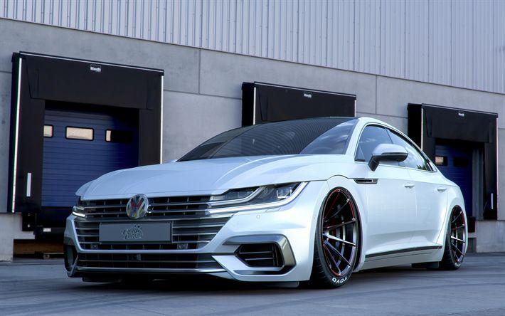 Descargar fondos de pantalla 4k, Volkswagen Arteon, optimización de 2018 coches, postura, blanco Arteon, los coches alemanes, Volkswagen