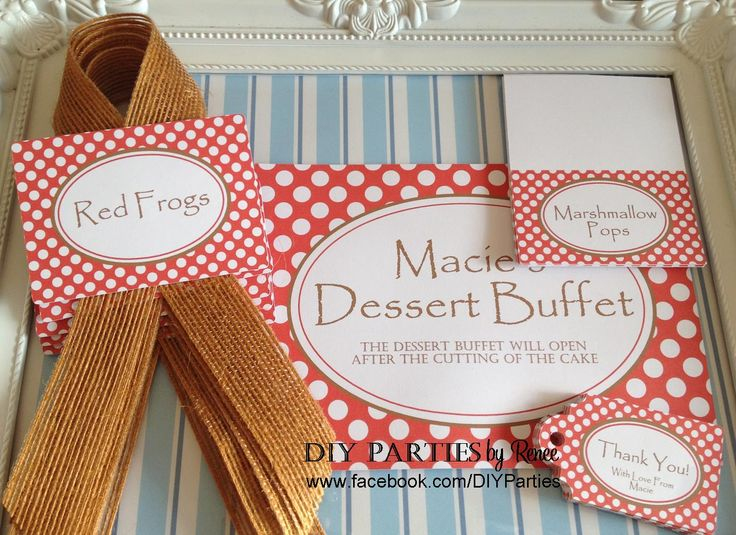 Table sign & candy buffet jar labels - Red Polka Dot - Woodland.  Find us on Facebook: www.facebook.com/DIYParties