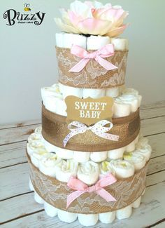 Shabby Chic Pink and Gold Diaper Cake Pink and par BuzzyDiaperCakes