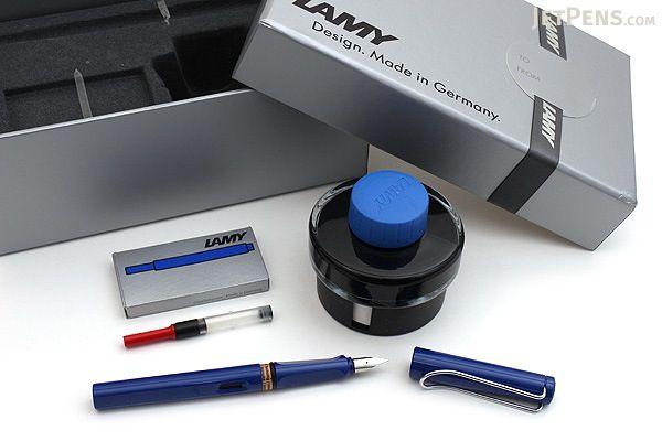 Lamy Safari Fountain Pen Gift Set - Blue - Medium Nib - LAMY L14HS