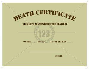 death certificate template microsoft word