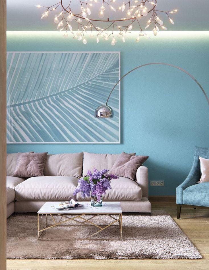 Világos, meleg és szép kék árnyalatok összhangja, praktikus gardróbok, természetes fa és elegáns kő burkolatok - kétszobás lakás - Lakberendezés trendMagazin