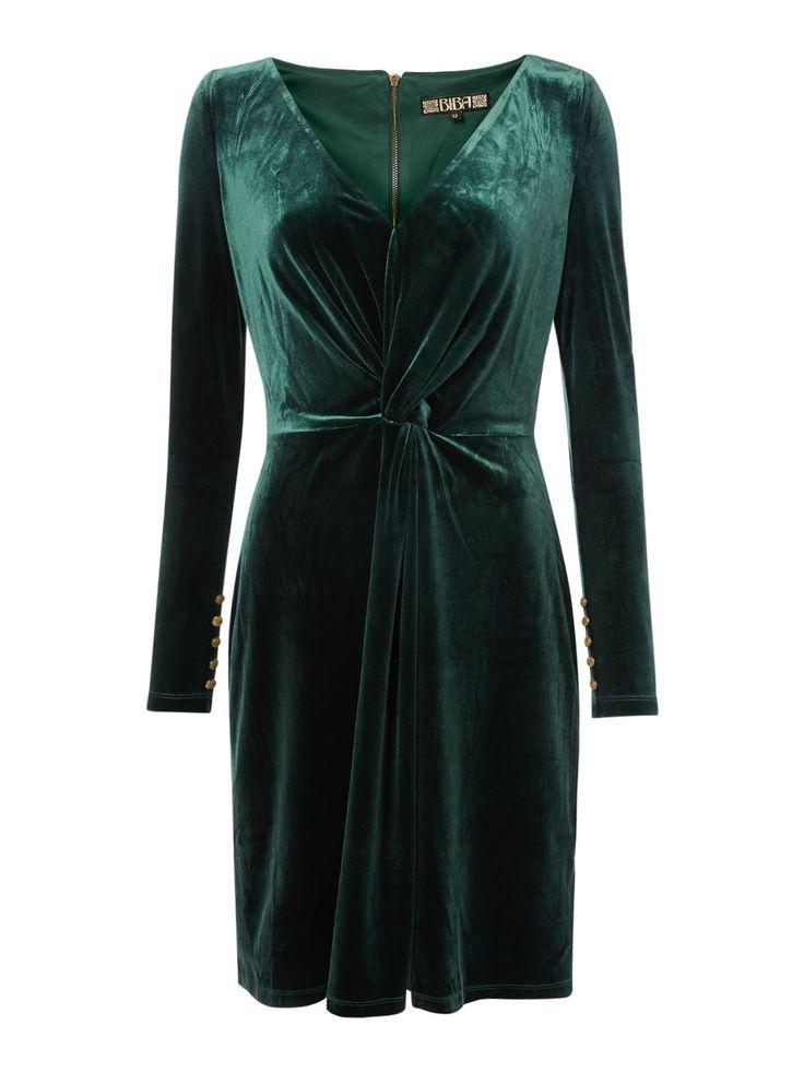 Biba Velvet Long Sleeve Knot Detail Dress