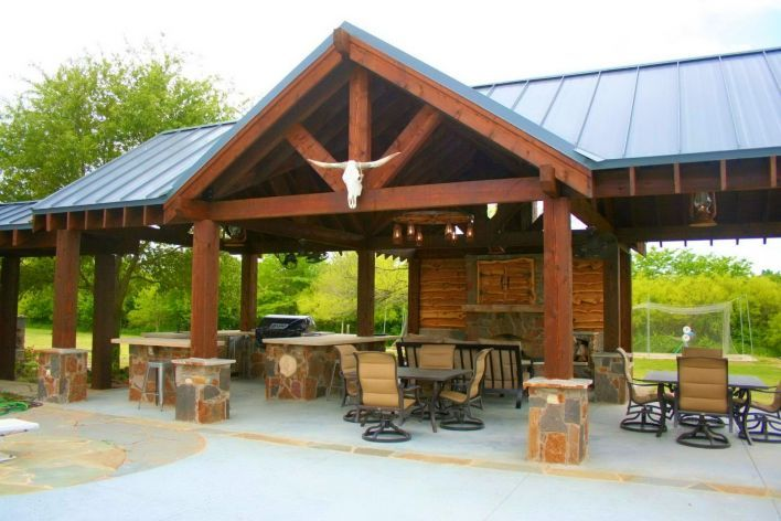 Pavilion, Outdoor Kitchen, and Fireplace | ReallyGood.com