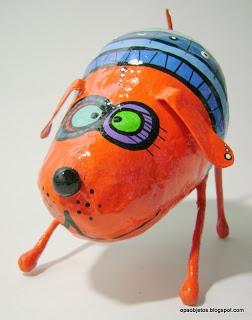 super cute dog sculpture...paper mache