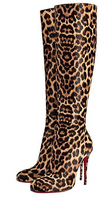 TDA Women's Sexy Leopard Print Zipper Brown Pony Hair Evening Party Dress Stiletto Boots