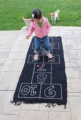 Make your own indoor hopscotch rug!