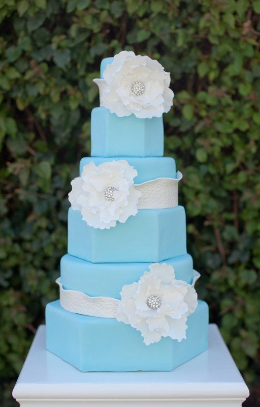 Tiffany Cake with giant sugar flowers and rhinestones (The Butter End Cakery, Santa Monica)