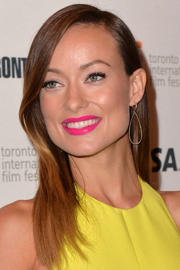 Looking for the ultimate neon pink lipstick? What Olivia Wilde's wearing here could be The One: http://beautyeditor.ca/2013/10/28/olivia-wilde-lipstick/