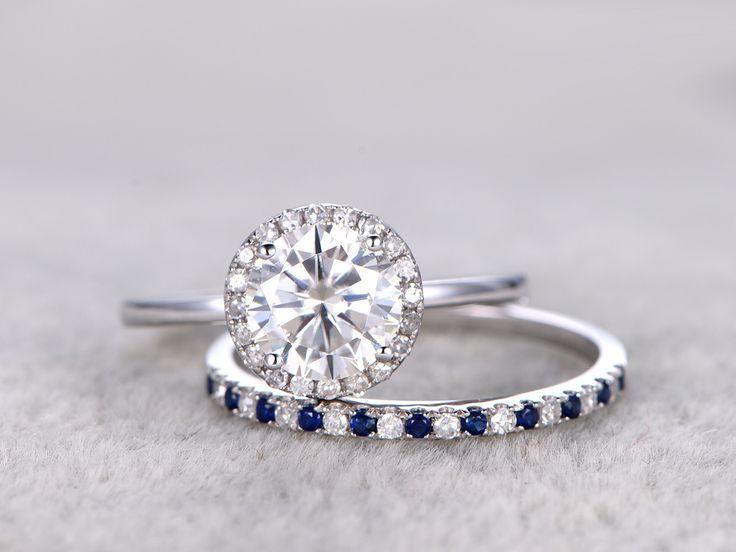 Moissanite Engagement Ring Set Diamond and Sapphire Wedding Band White Gold Pave Matching 14K/18K