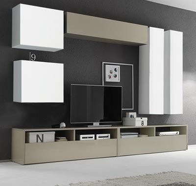 Parete attrezzata moderna di design, bianco lucido, corda lucido - 278x185 cm