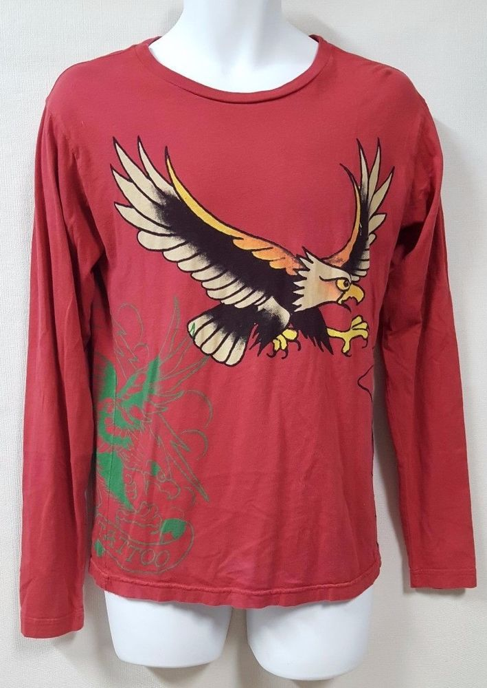 Ed Hardy Red T Shirt Size Small Eagle Ed Hardy Designs Long Sleeve #EdHardy #GraphicTee