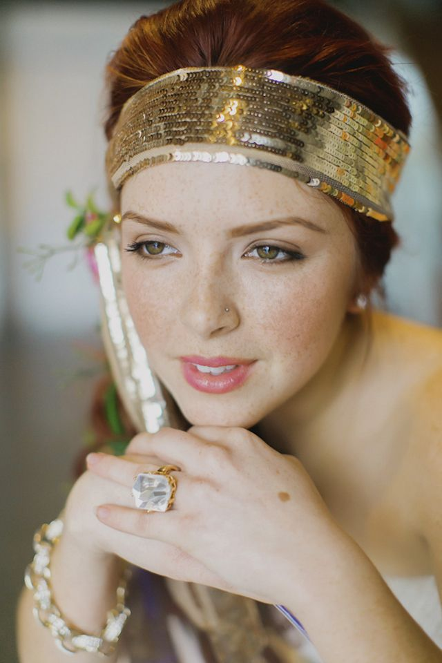 Gold sequin headband   Milou + Olin Photography   see more on: http://burnettsboards.com/2014/06/anthropologie-j-crew-wedding-style/
