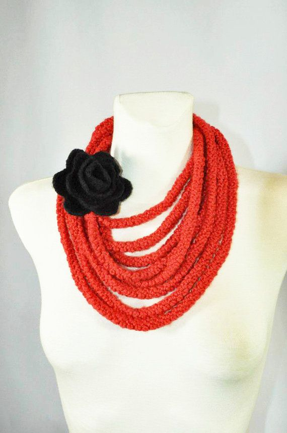 Infinity Scarf Red Necklace Scarf Rope Scarf Crochet Scarf #knitshawl #laceshawl #crochetscarf #knitting #handknit