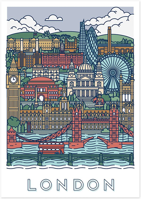 Two graphical posters of Paris and London.