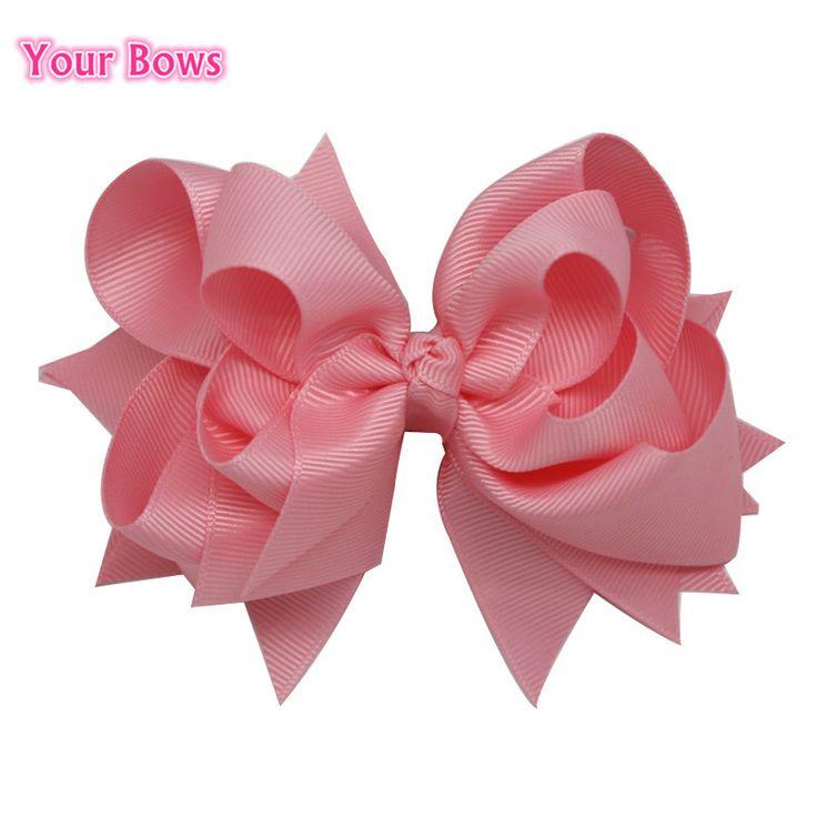 Busur anda 1 pc 5 inches anak hair bows 3 lapisan padat cahaya Merah Muda Jepit Rambut Butik Busur Pita Untuk Anak Perempuan Aksesoris Rambut
