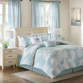 Harbor House Palm Grove Full Cotton Printed 6 Piece Comforter Set in Blue - Olliix HH10-1612