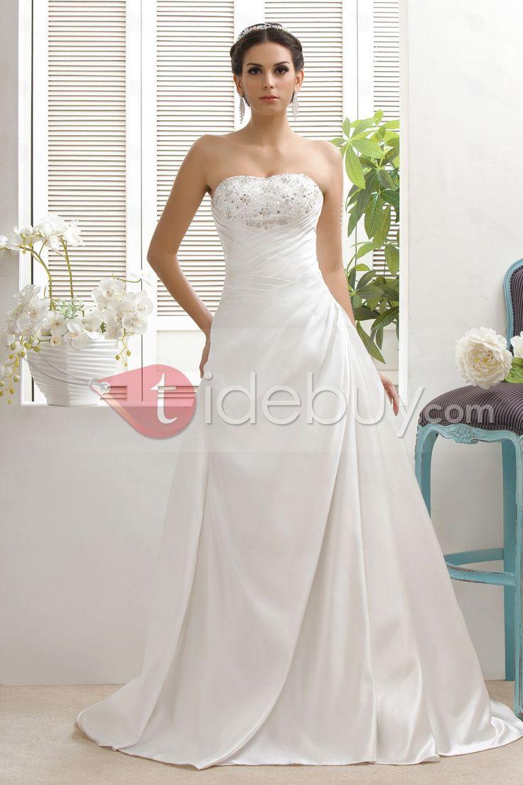 Attractive A-Line/Princess Sweetheart Chapel Taline's Beaded Plus Size Wedding Dress : Tidebuy.com